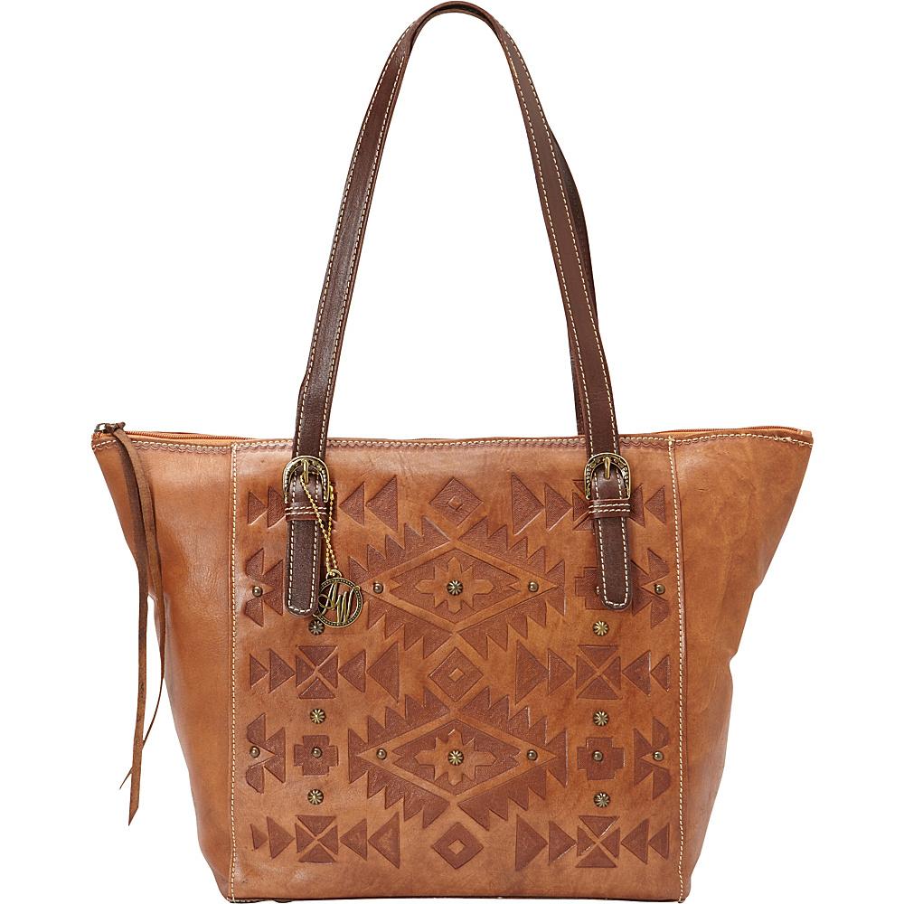 American West Mystic Shadow Zip Top Bucket Tote Golden Tan American West Leather Handbags