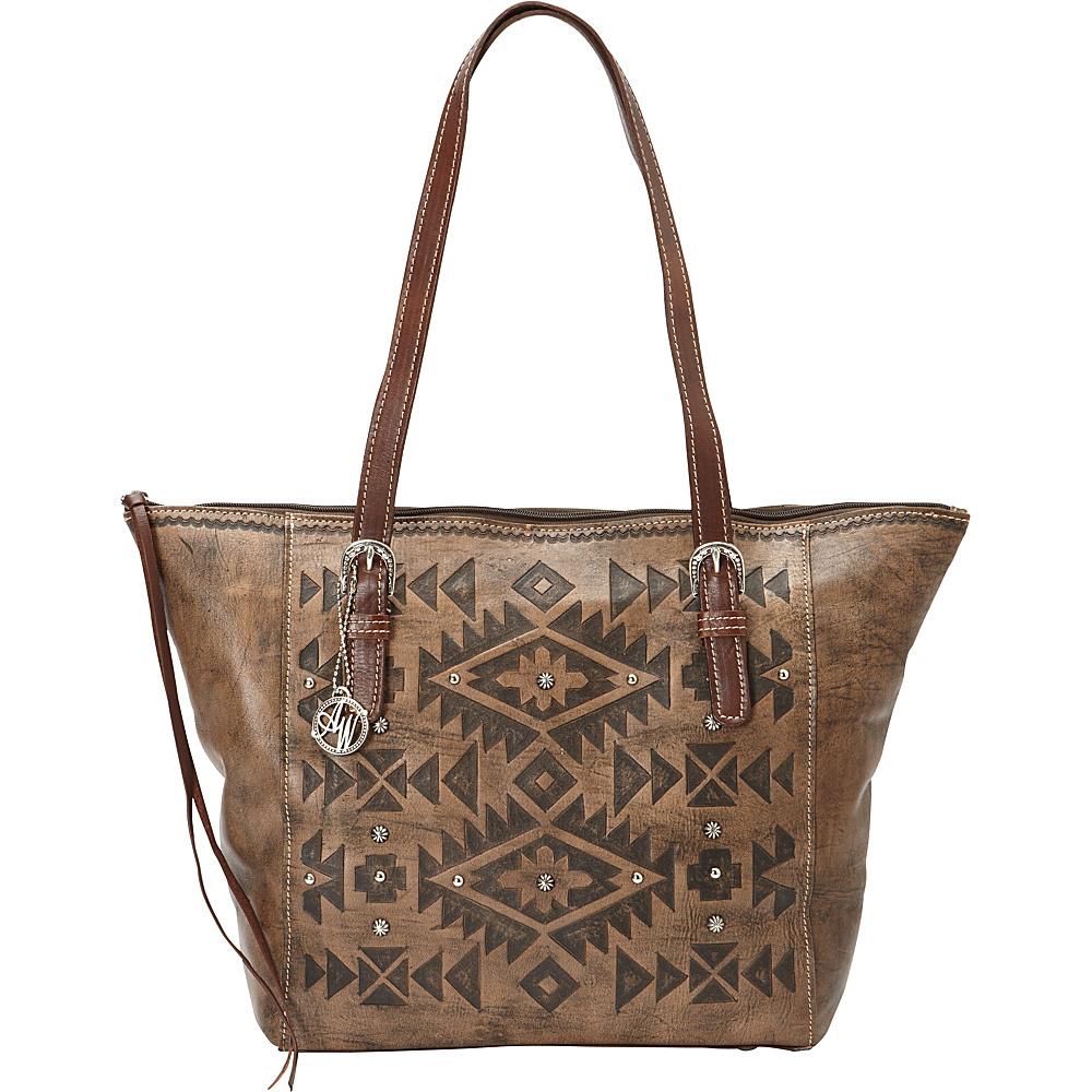 American West Mystic Shadow Zip Top Bucket Tote Distressed Charcoal Brown American West Leather Handbags