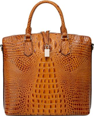 Vicenzo Leather Dione Croc Embossed Top Handle Leather Tote Brown - Vicenzo Leather Leather Handbags