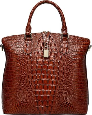 Vicenzo Leather Dione Croc Embossed Top Handle Leather Tote Red - Vicenzo Leather Leather Handbags