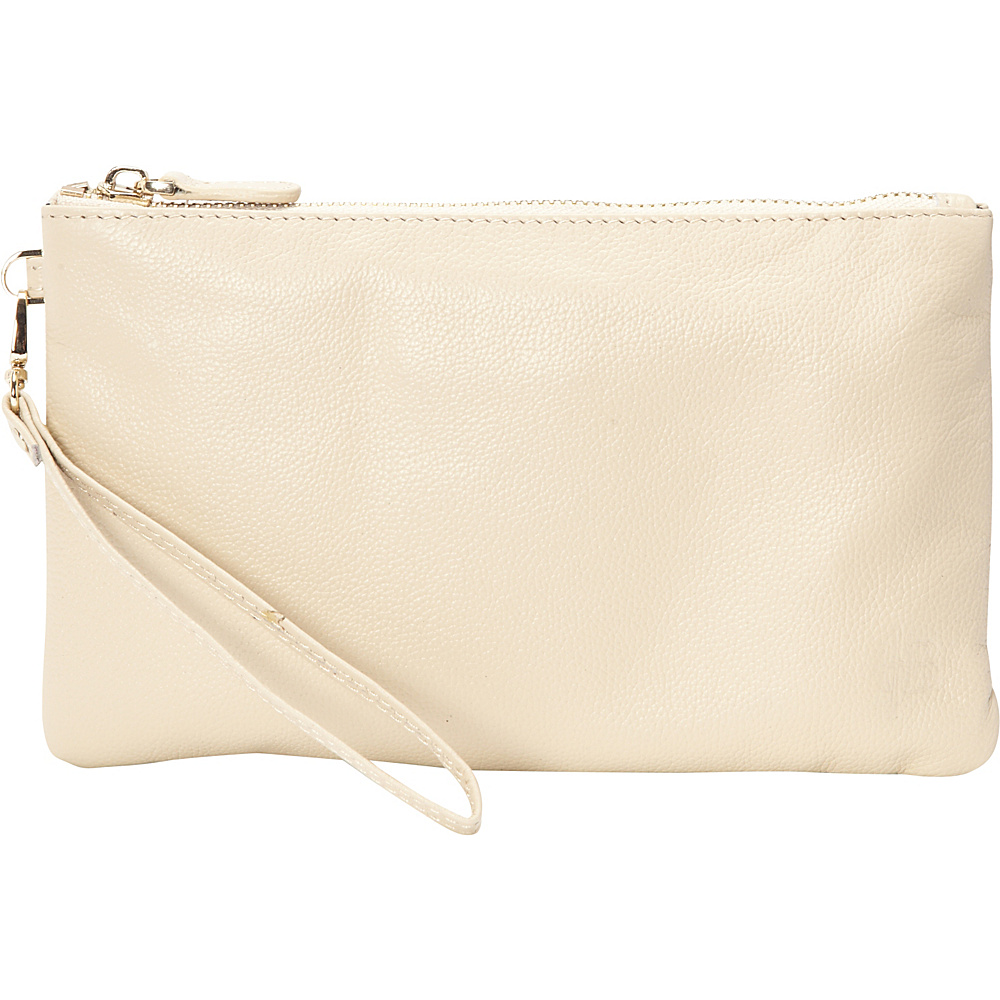 HButler The Mighty Purse Phone Charging Wristlet Cream HButler Leather Handbags