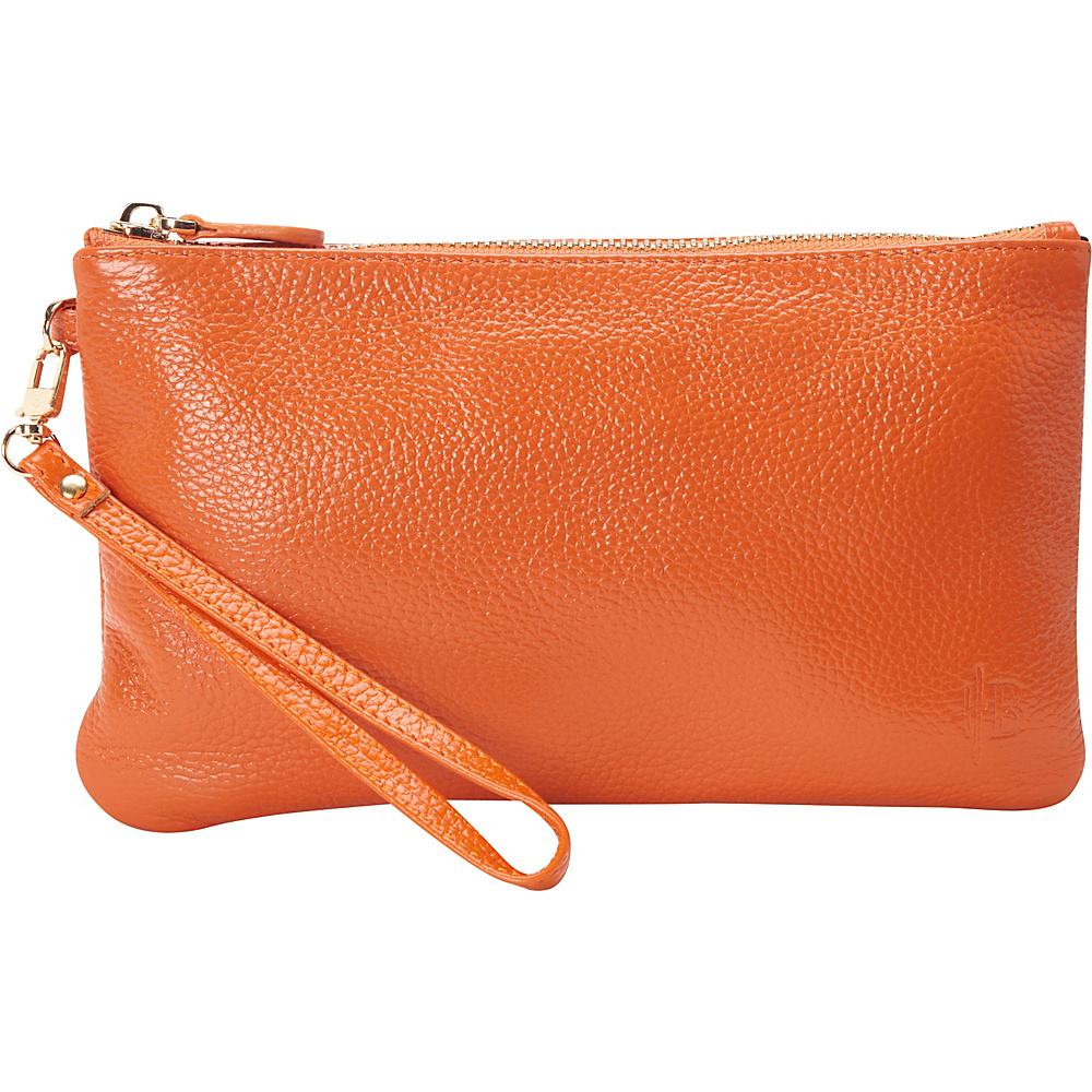 HButler The Mighty Purse Phone Charging Wristlet Tangerine Orange HButler Leather Handbags