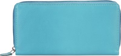 Image of Ann Shelby Elaine Ladies Leather Wallet Turquoise - Ann Shelby Ladies Small Wallets