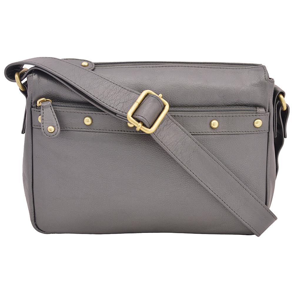 Great American Leatherworks Catania Crossbody Pewter Leather Handbags