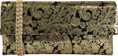 JNB Metallic Paisley Print Microsuede Clutch Gold - JNB Manmade Handbags