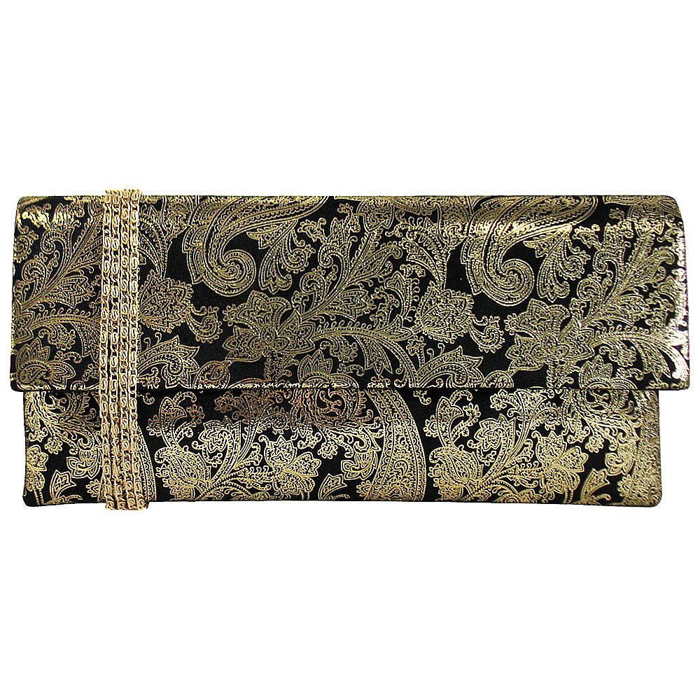 JNB Metallic Paisley Print Microsuede Clutch Gold JNB Manmade Handbags