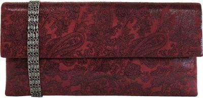 JNB Metallic Paisley Print Microsuede Clutch Maroon - JNB Manmade Handbags