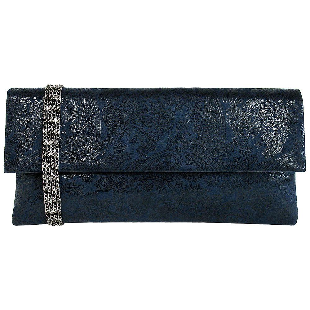 JNB Metallic Paisley Print Microsuede Clutch Navy JNB Manmade Handbags