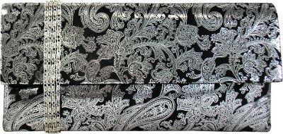 JNB Metallic Paisley Print Microsuede Clutch Silver - JNB Manmade Handbags