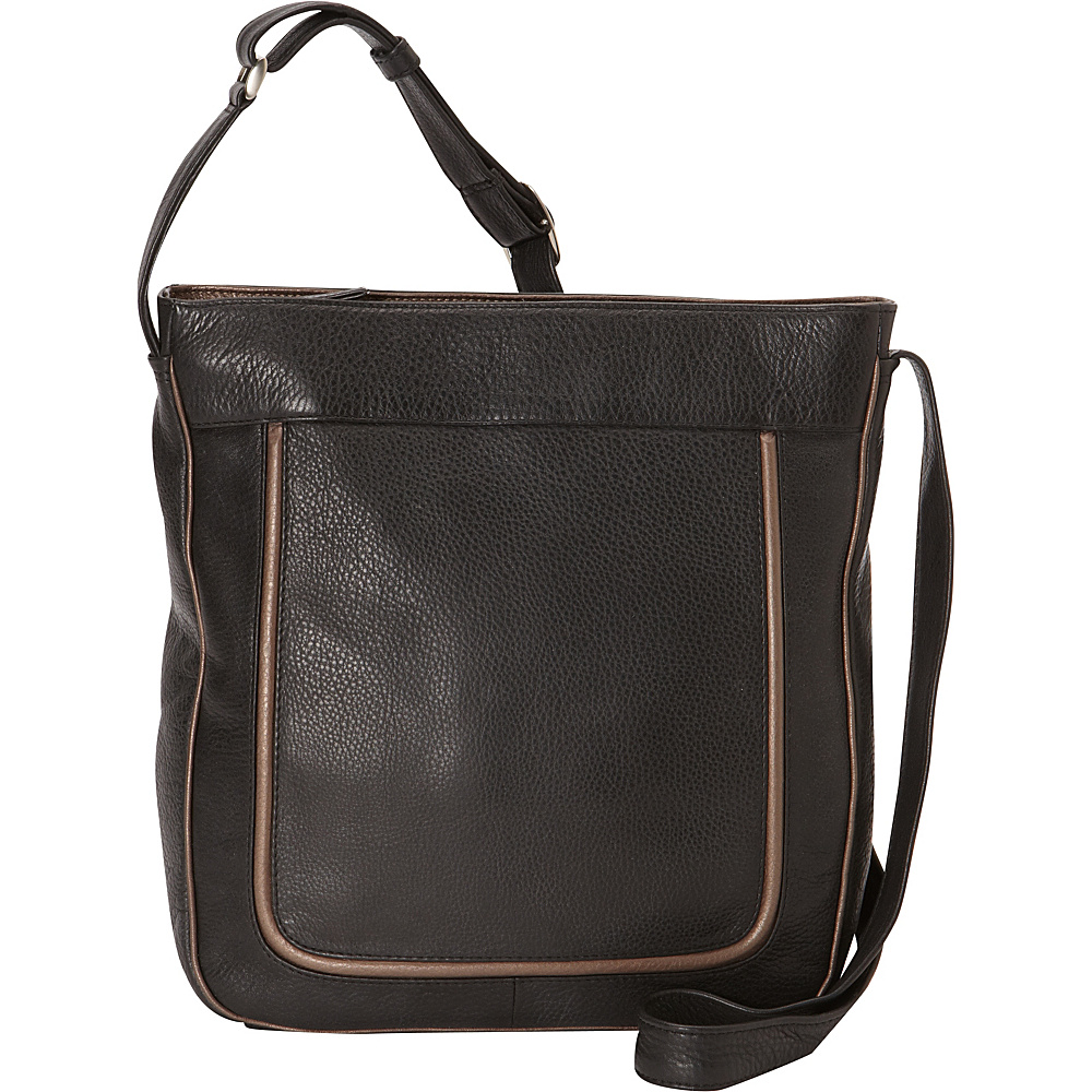 Derek Alexander North/South Top Zip Crossbody Black/Bronze - Derek Alexander Leather Handbags - Handbags, Leather Handbags