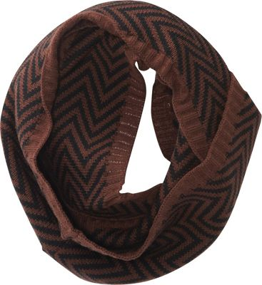 Jessica McClintock Scarves Two Tone Infinity Scarf Brown/Black - Jessica McClintock Scarves Hats/Gloves/Scarves
