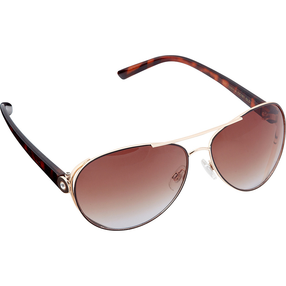 Circus by Sam Edelman Sunglasses Modified Aviator Sunglasses Gold Brown Circus by Sam Edelman Sunglasses Sunglasses