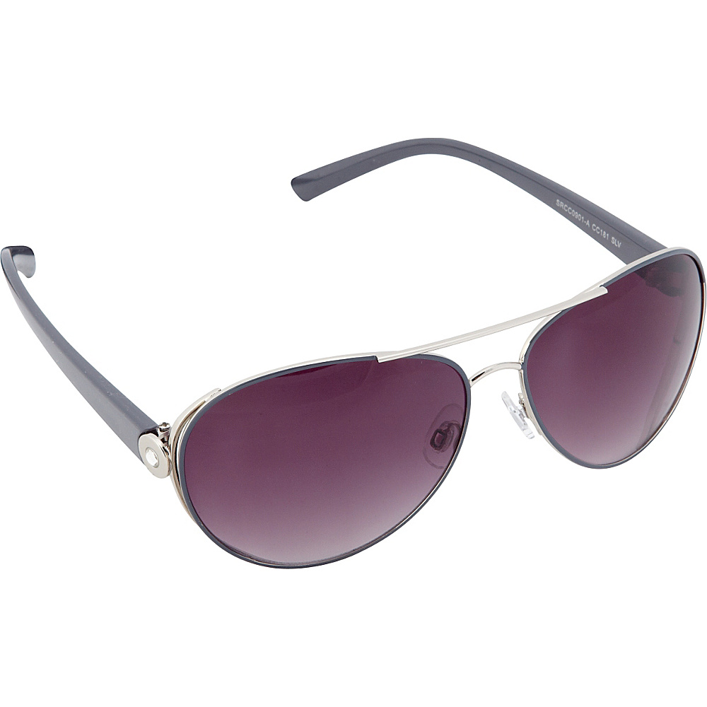 Circus by Sam Edelman Sunglasses Modified Aviator Sunglasses Silver Grey Circus by Sam Edelman Sunglasses Sunglasses