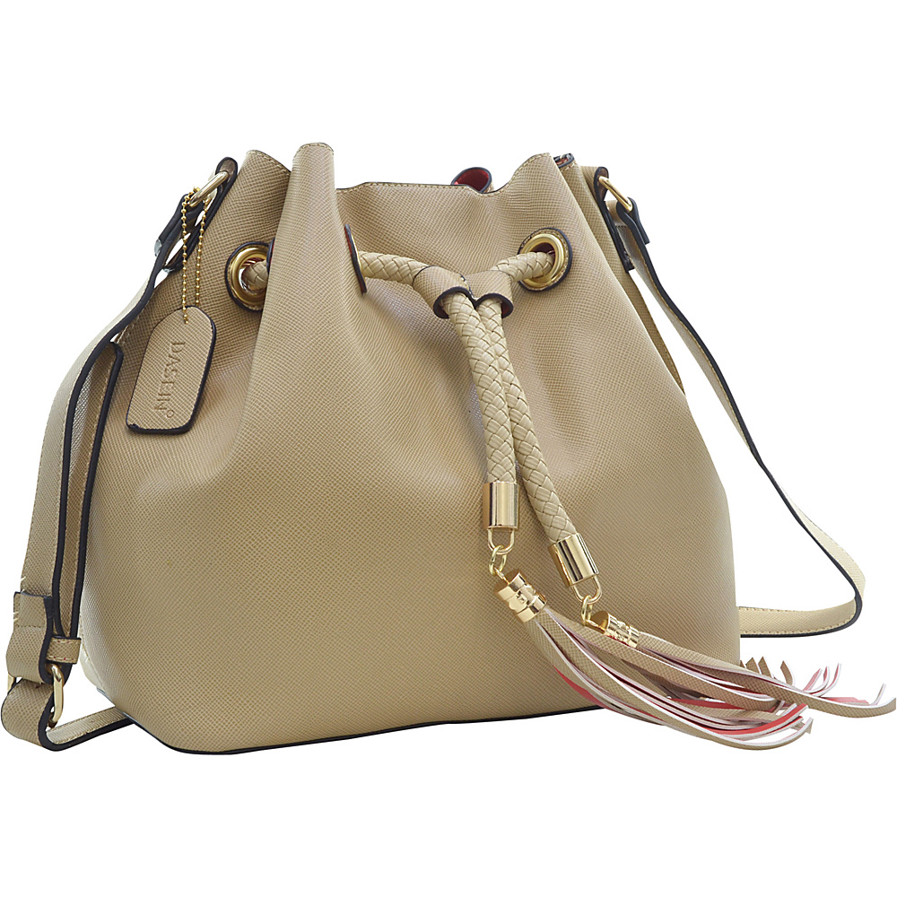 Dasein Bucket Bag Beige - Dasein Leather Handbags - Handbags, Leather Handbags