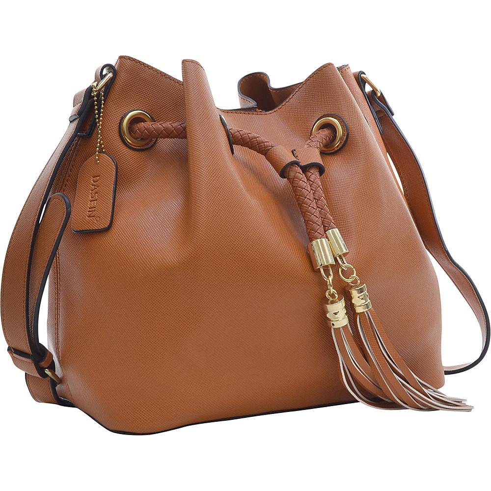 Dasein Bucket Bag Brown - Dasein Leather Handbags - Handbags, Leather Handbags