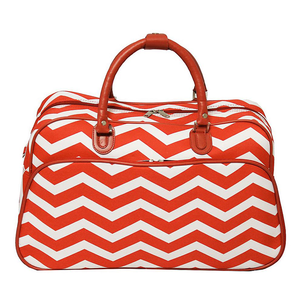 World Traveler Chevron 21 Carry-On Duffel Bag Orange White Chevron - World Traveler Rolling Duffels - Luggage, Rolling Duffels