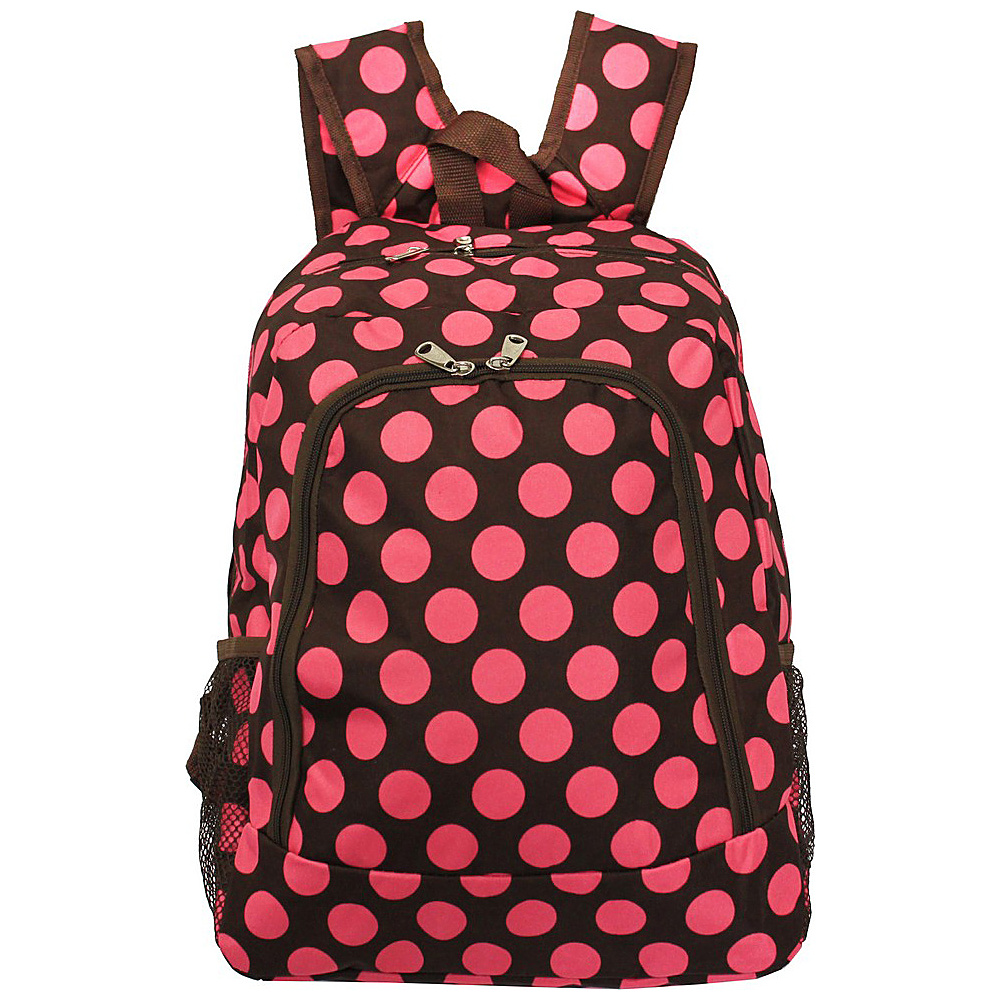 World Traveler Dots ll 16 Multipurpose Backpack Brown Pink Dot II World Traveler Everyday Backpacks
