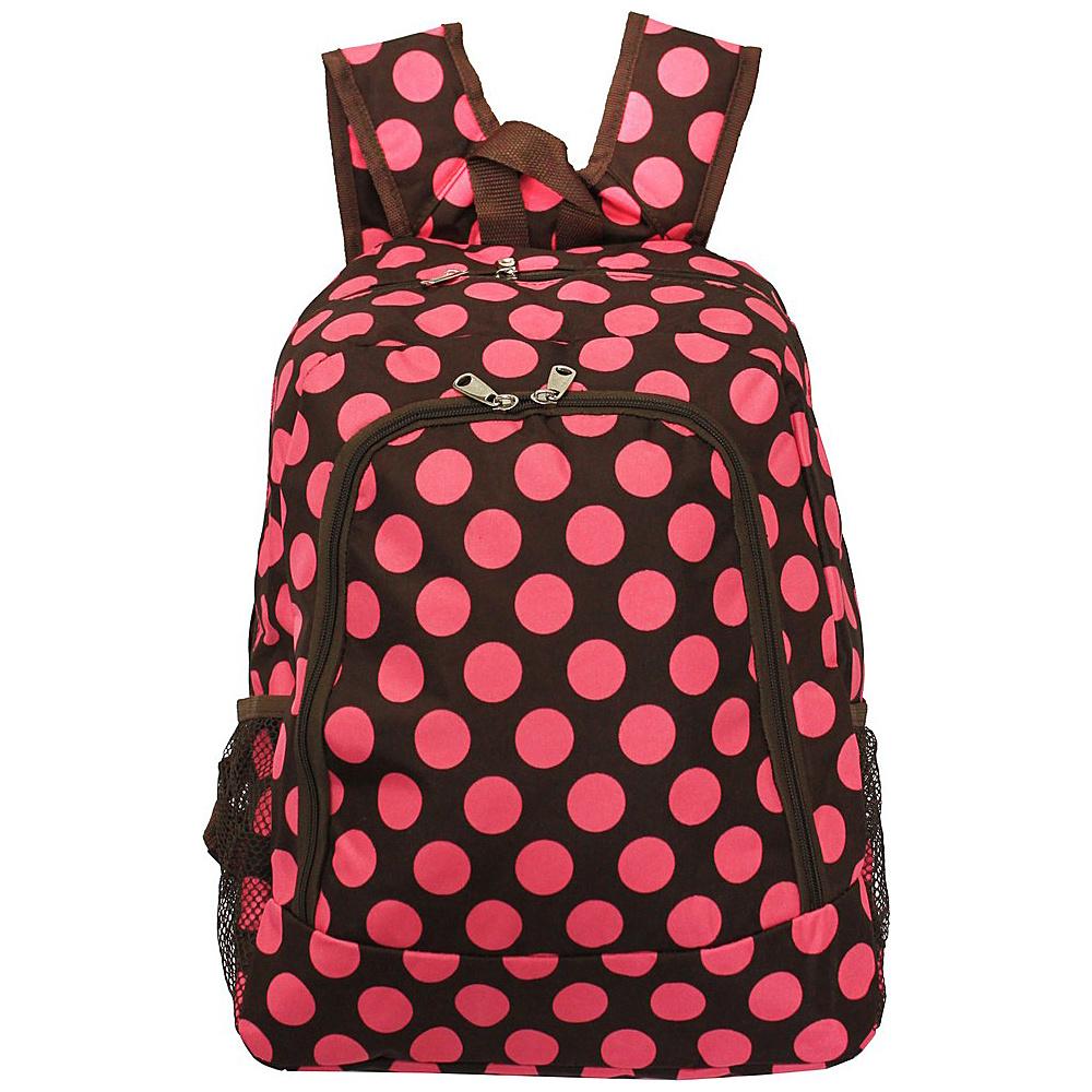 World Traveler Dots ll 16 Multipurpose Backpack Brown Pink Dot II - World Traveler Everyday Backpacks - Backpacks, Everyday Backpacks