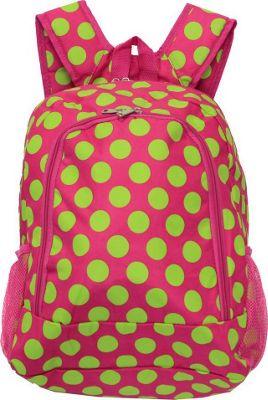 World Traveler Dots ll 16 inch Multipurpose Backpack Fuchsia Lime Dot II - World Traveler Everyday Backpacks