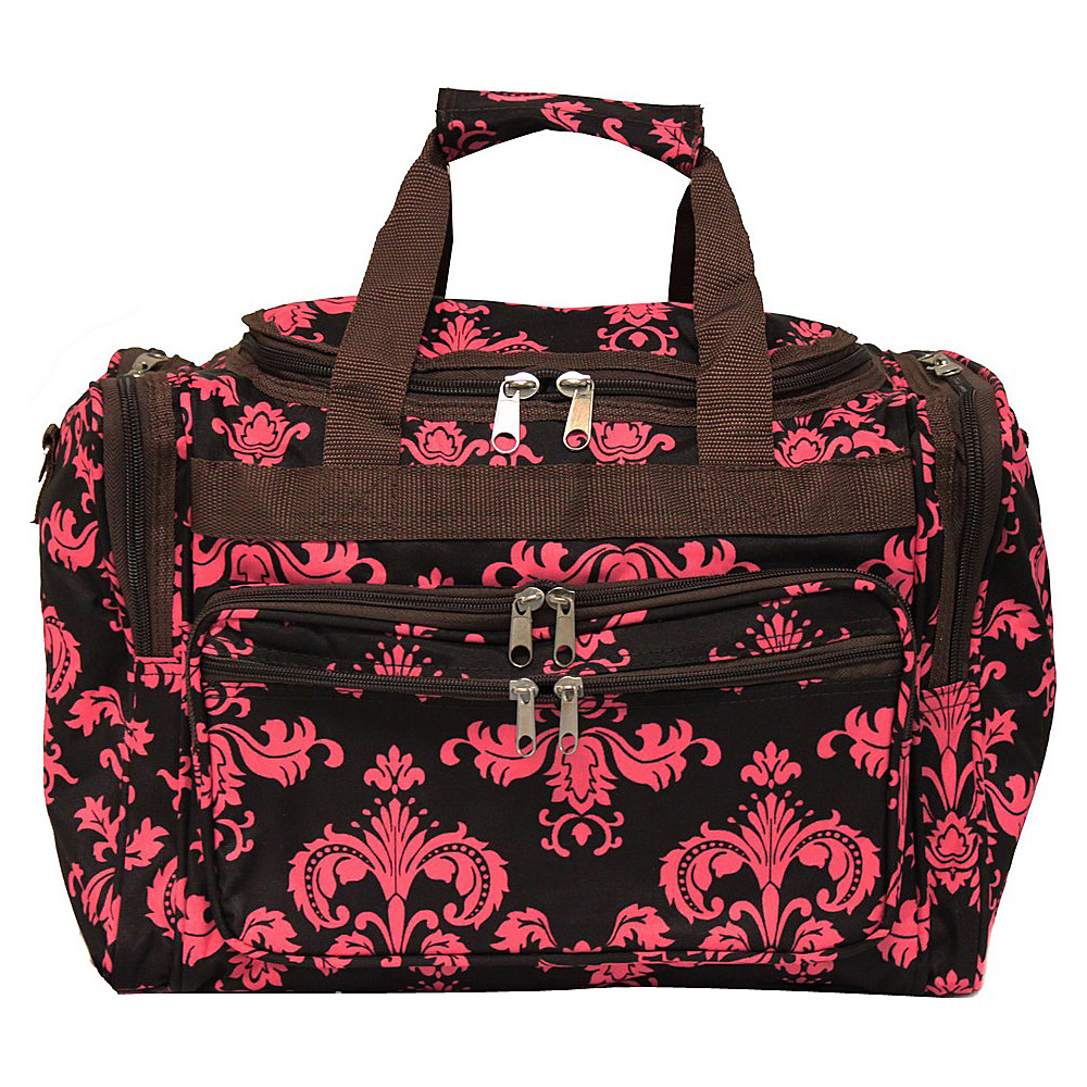 World Traveler Damask II 16 Shoulder Duffle Bag Brown Pink Damask ll - World Traveler Rolling Duffels - Luggage, Rolling Duffels