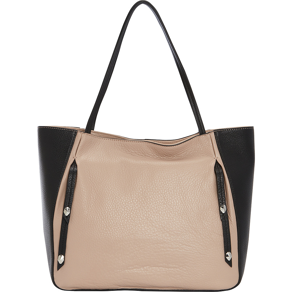 Perlina Cruise Colorblock Tote Oyster/Black - Perlina Leather Handbags