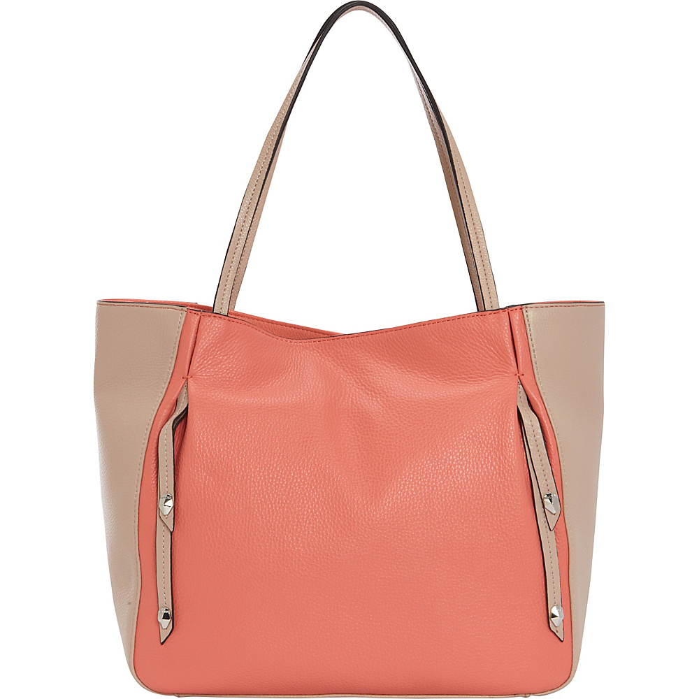 Perlina Cruise Colorblock Tote Coral/Oyster - Perlina Leather Handbags