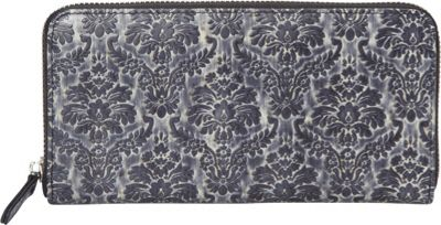 R & R Collections Two Tone Baroque Print Leather Zip Around Wallet Black Mutli - R & R Collections Women's Wallets