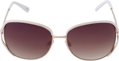 Laundry by Shelli Segal Sunglasses Rectangle Vented Lenses Sunglasses Gold/White - Laundry by Shelli Segal Sunglasses Sunglasses