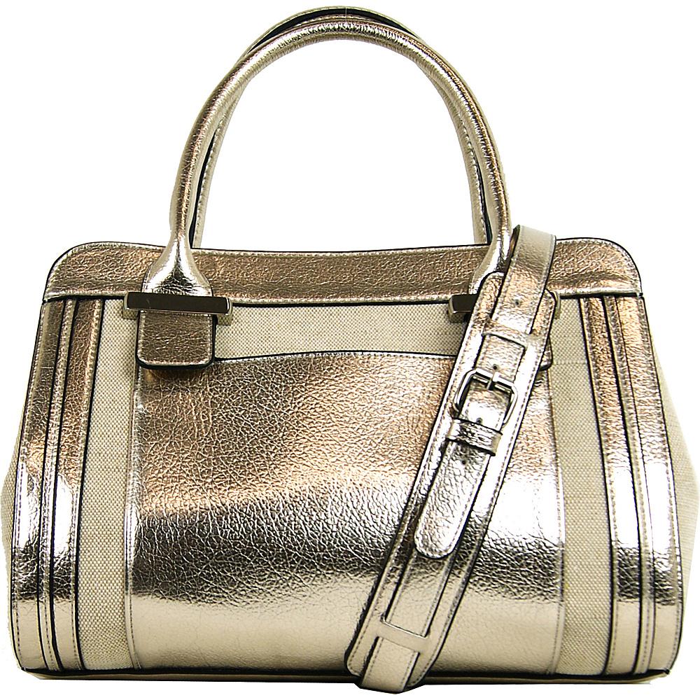 Emilie M Sheila Linen Satchel Natural/Gold - Emilie M Manmade Handbags
