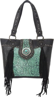 Trinity Ranch Tooled Tote Black/Turquoise - Trinity Ranch Manmade Handbags