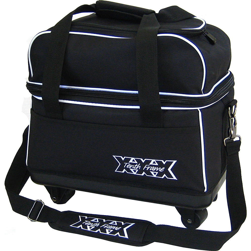 Tenth Frame Tag A Long Double Roller Black - Tenth Frame Bowling Bags