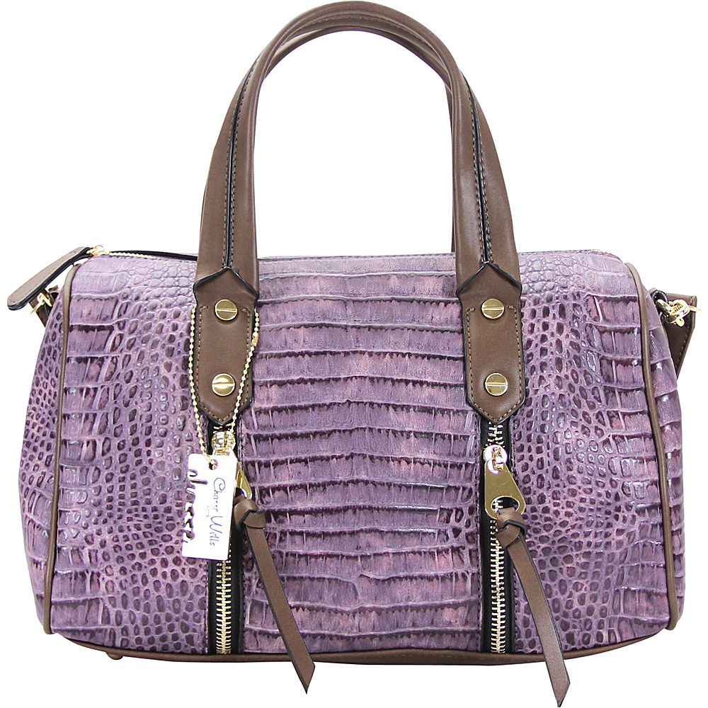 Chasse Wells Fierte Croc Satchel Purple Chasse Wells Manmade Handbags
