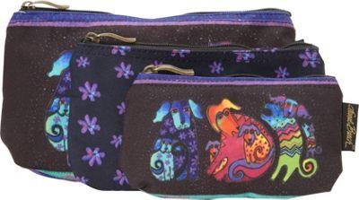 Laurel Burch Three in One Cosmetic Bag Set Dog And Doggies - Laurel Burch Toiletry Kits 10403563