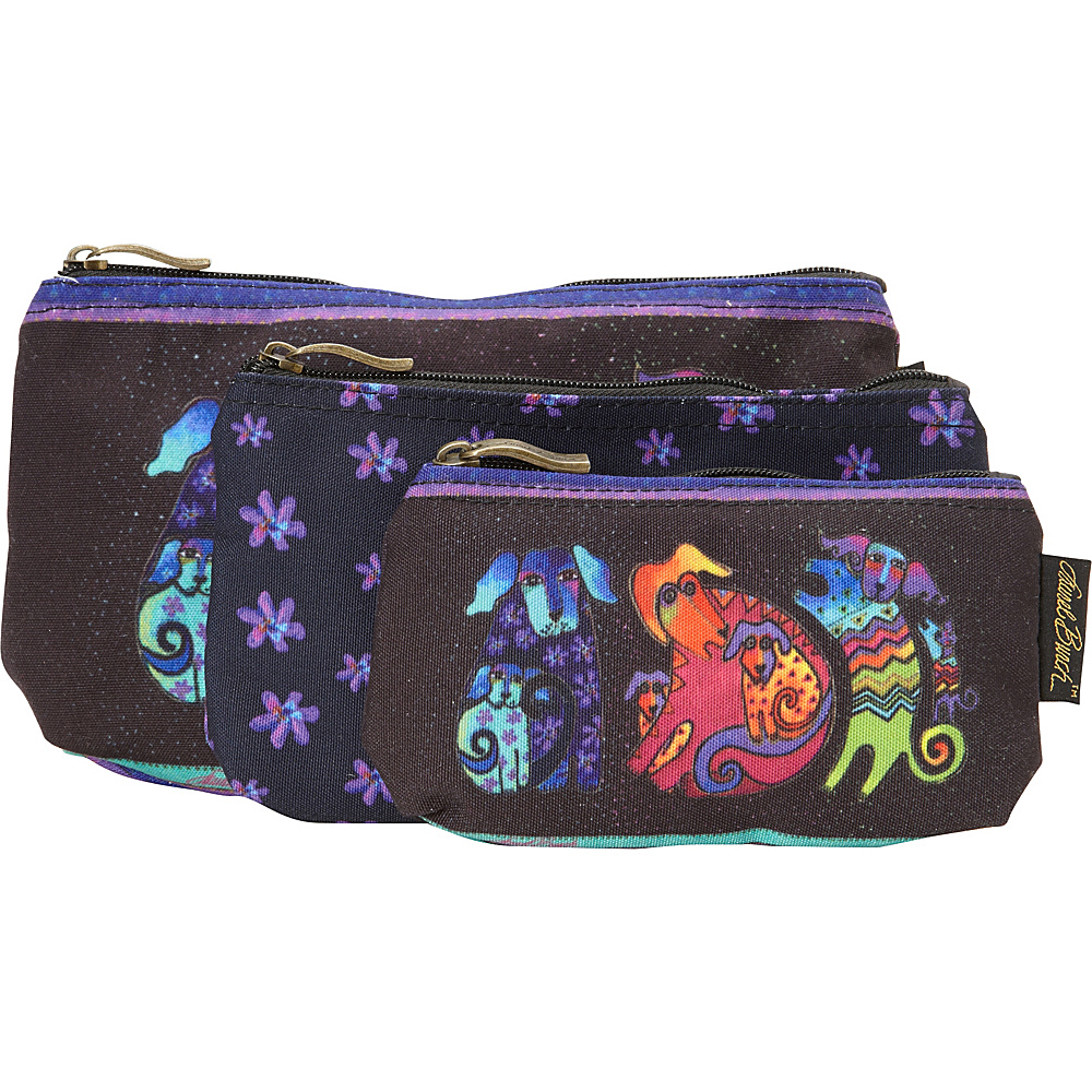 Laurel Burch Three in One Cosmetic Bag Set Dog And Doggies - Laurel Burch Toiletry Kits