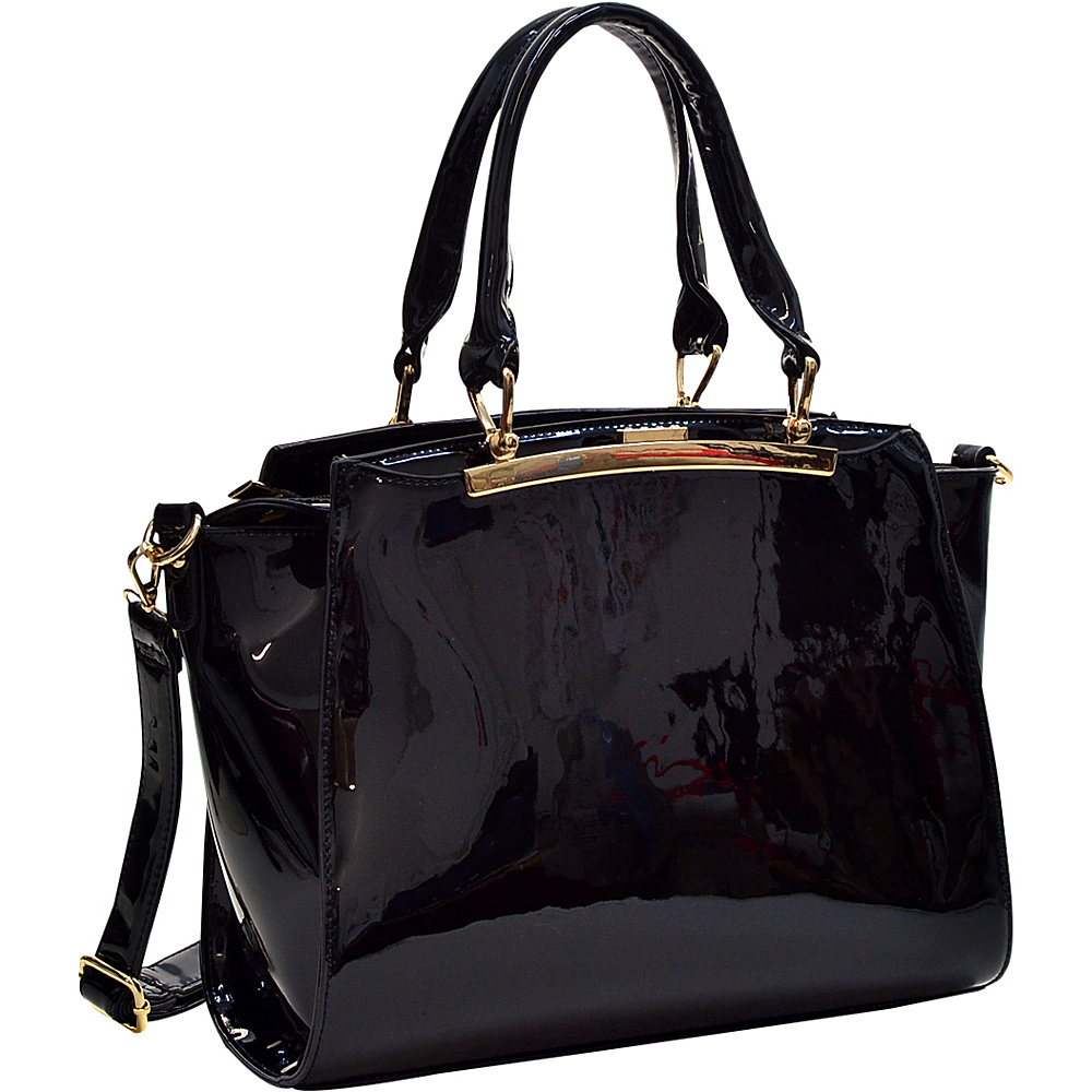 Dasein Patent Faux Leather Winged Satchel Black - Dasein Manmade Handbags - Handbags, Manmade Handbags