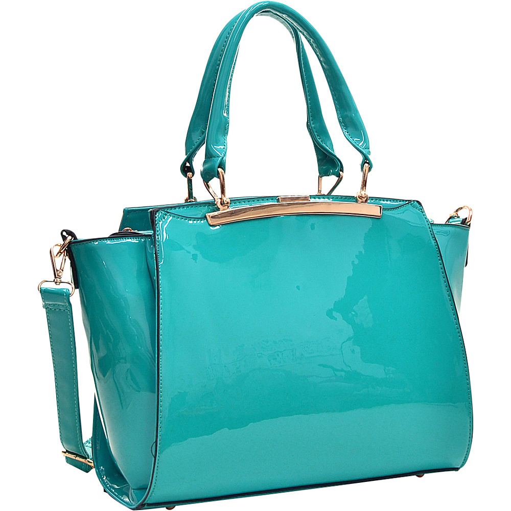 Dasein Patent Faux Leather Winged Satchel Blue - Dasein Manmade Handbags - Handbags, Manmade Handbags