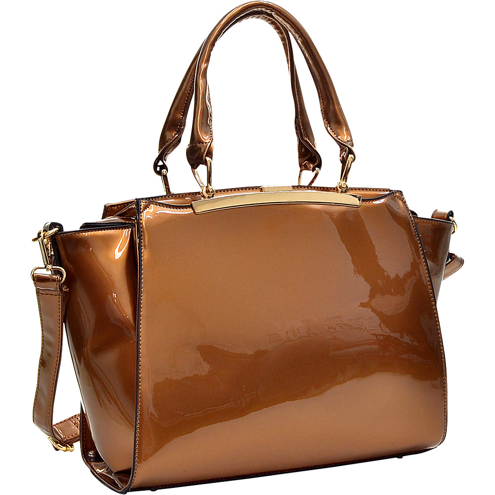 Dasein Patent Faux Leather Winged Satchel Coffee - Dasein Manmade Handbags - Handbags, Manmade Handbags