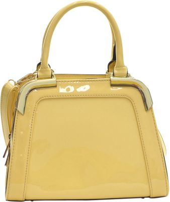 Dasein Patent Faux Leather Corner Satchel Yellow - Dasein Manmade Handbags