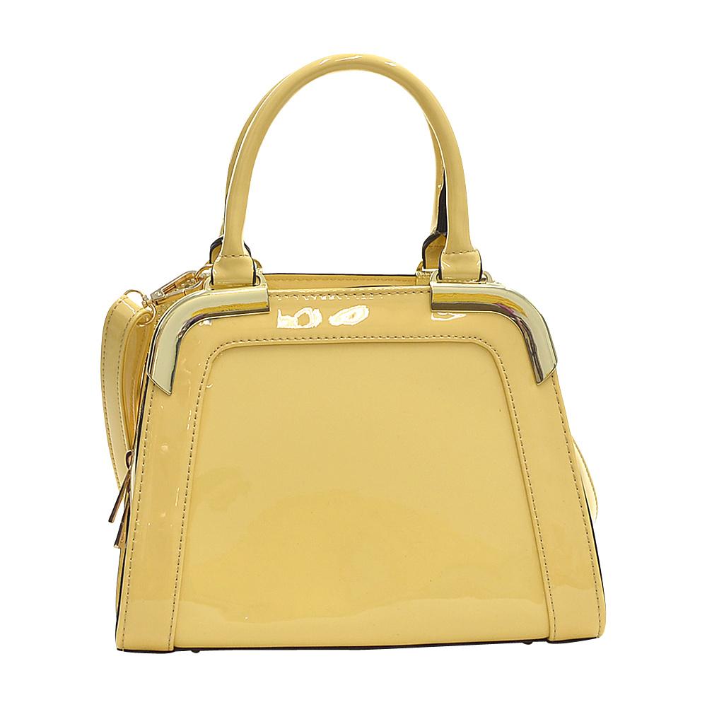 Dasein Patent Faux Leather Corner Satchel Yellow - Dasein Manmade Handbags - Handbags, Manmade Handbags