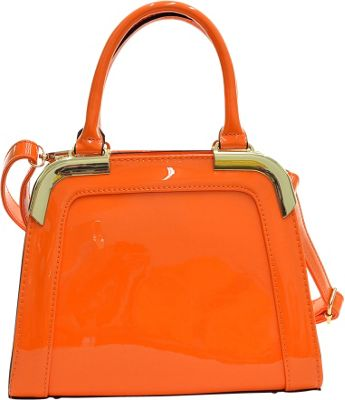 Dasein Patent Faux Leather Corner Satchel Orange - Dasein Manmade Handbags