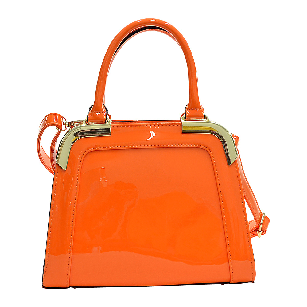 Dasein Patent Faux Leather Corner Satchel Orange - Dasein Manmade Handbags - Handbags, Manmade Handbags