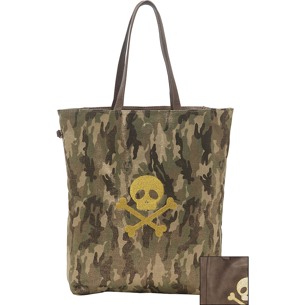 Clava Tote with Skull and Bones Metallic Camo Clava Fabric Handbags