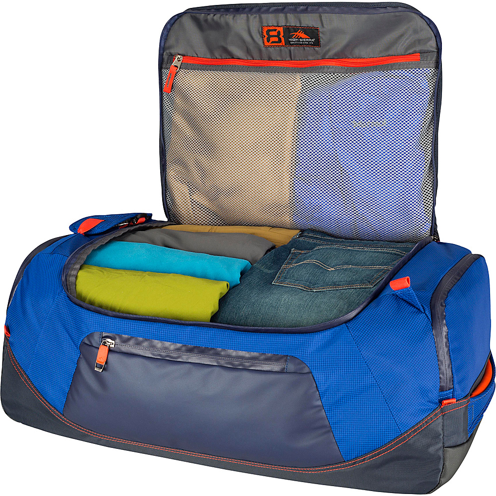 """High Sierra AT8 26"""" Duffel Backpack Sapphire/Red Line/True Navy - High Sierra Outdoor Duffels"""