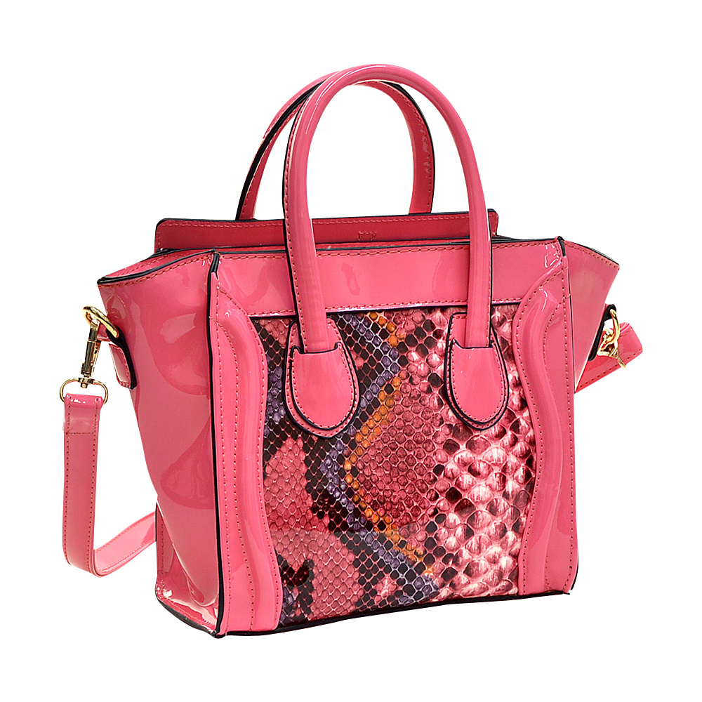 Dasein Patent Leather with Snakeskin Detail Satchel Pink - Dasein Manmade Handbags - Handbags, Manmade Handbags