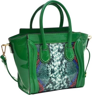 Dasein Patent Leather with Snakeskin Detail Satchel Green - Dasein Manmade Handbags