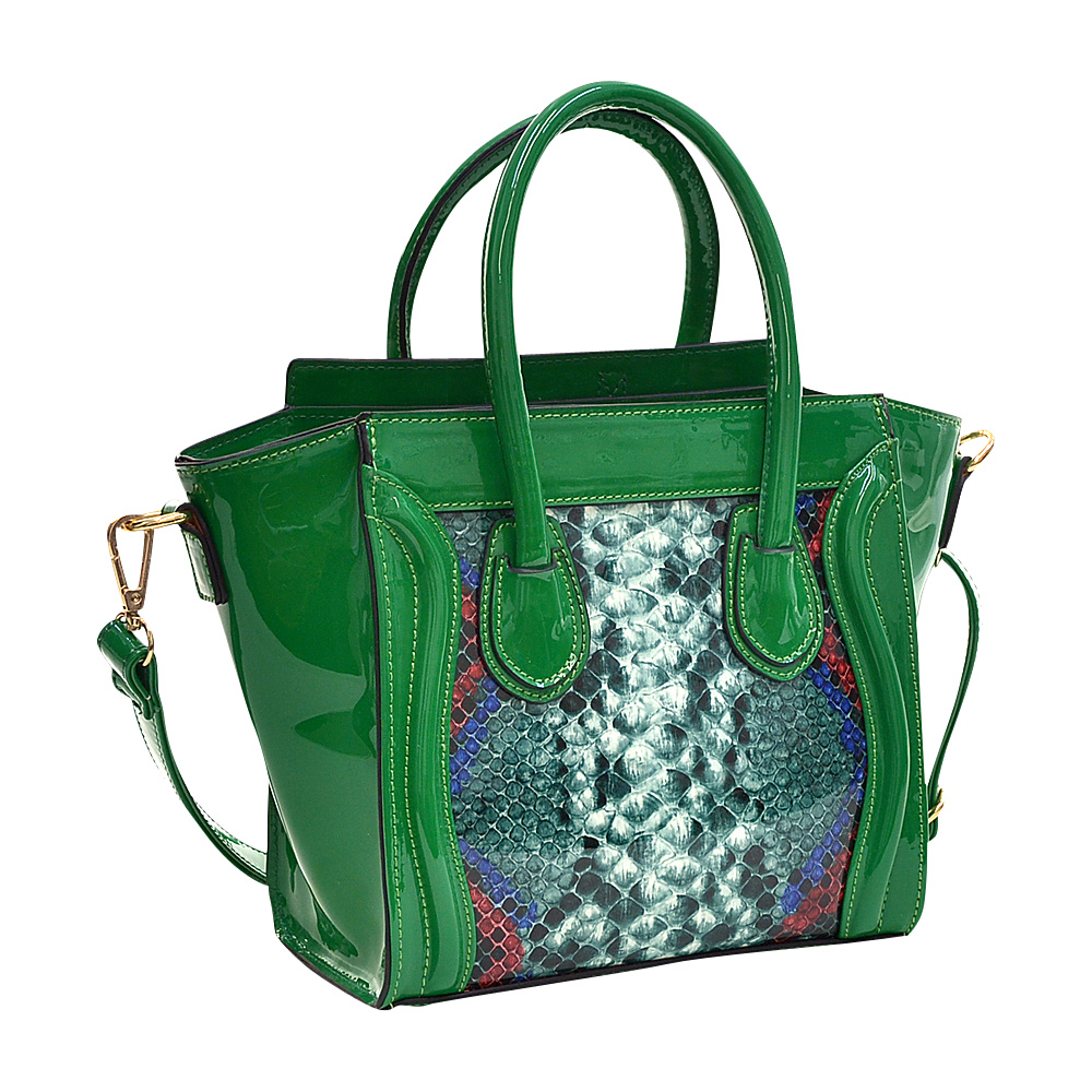 Dasein Patent Leather with Snakeskin Detail Satchel Green - Dasein Manmade Handbags - Handbags, Manmade Handbags