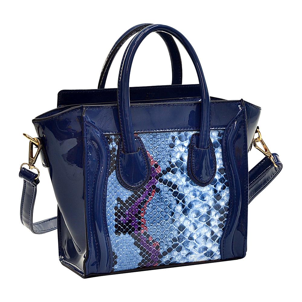 Dasein Patent Leather with Snakeskin Detail Satchel Blue - Dasein Manmade Handbags - Handbags, Manmade Handbags