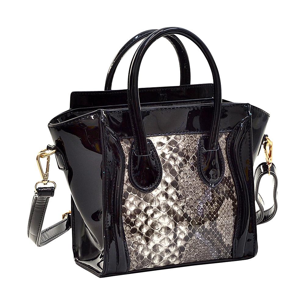 Dasein Patent Leather with Snakeskin Detail Satchel Black - Dasein Manmade Handbags - Handbags, Manmade Handbags