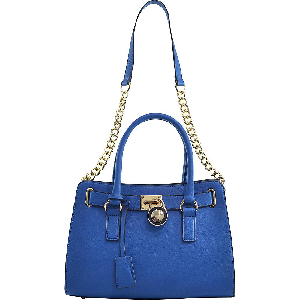 Dasein Medium Saffiano Faux Leather Satchel with Chain Shoulder Strap Blue - Dasein Manmade Handbags - Handbags, Manmade Handbags
