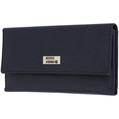 Access Denied RFID Blocking Pebble Leather Clutch Organizer Wallet Navy Blue - Access Denied Women's Wallets